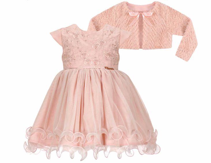 Vestido Infantil Casual c/ Peito Bordado Rosas com Bolero de Pelo