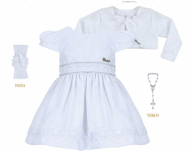 Vestido Infantil Bebê Batizado Branco c/ guipir na saia com bolero de pelo
