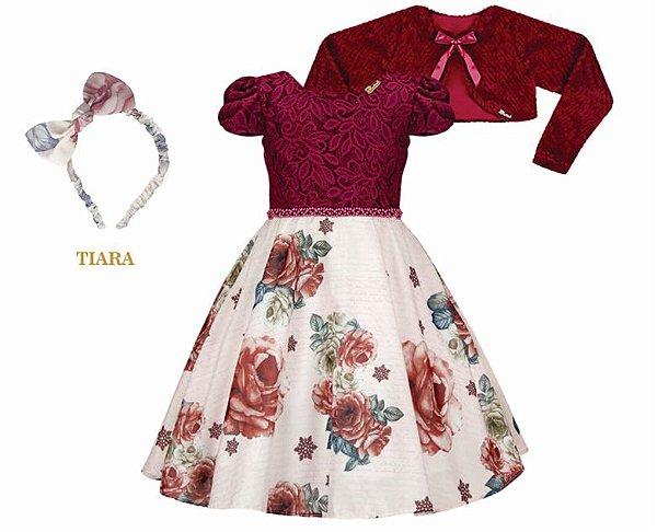 Vestido Infantil Chic c/ Peito de Renda com Casaco de Pelo