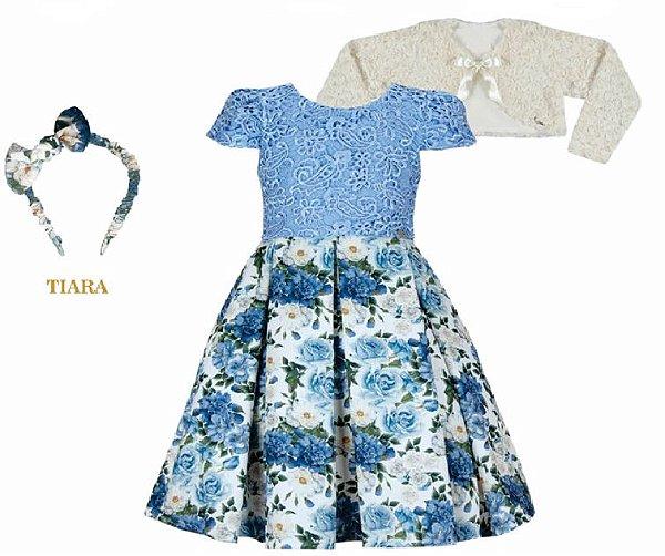 Vestido Infantil Chic c/ Guipir Azul no Peito com Bolero de Pelo