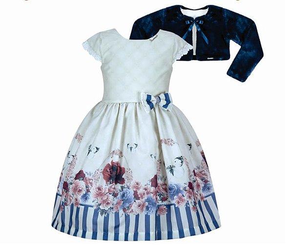 Vestido Infantil c/ Barrado de Flores e Listras