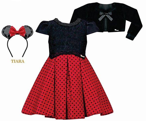 Vestido Infantil Chic Minnie com bolero de pelo