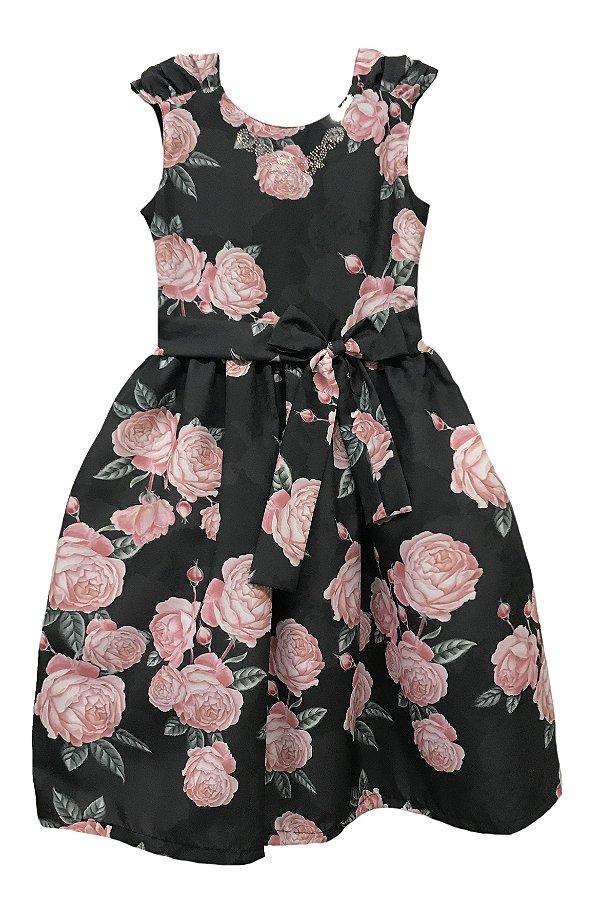 Vestido Infantil Estampado Rosas