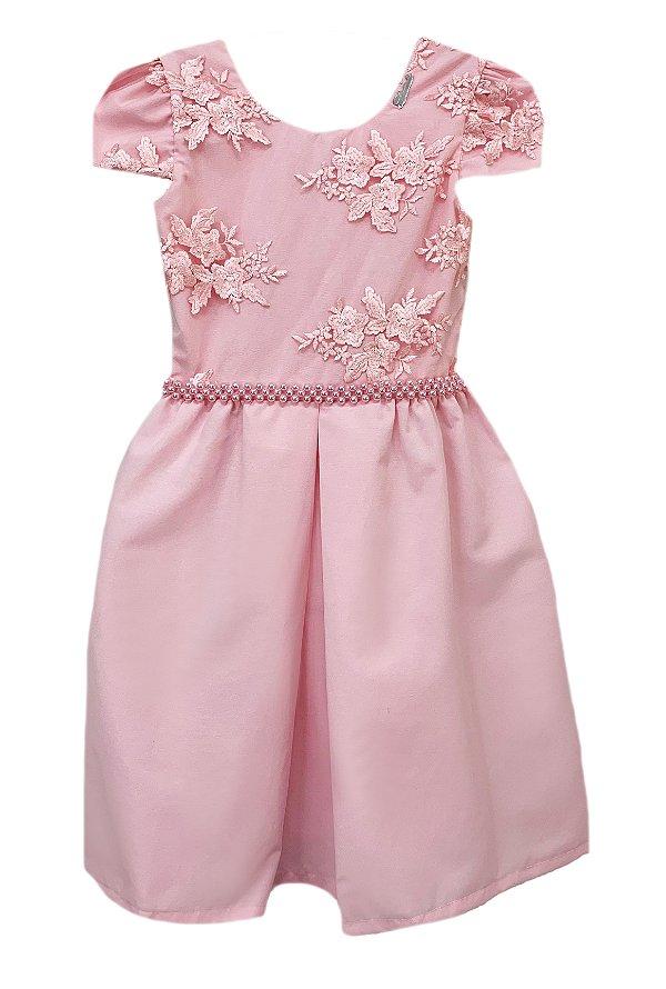 Vestido Infantil Peito de Renda Bordada