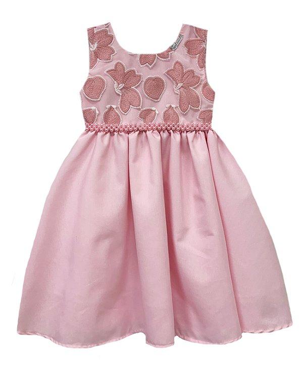 Vestido Infantil c/ Peito Bordado