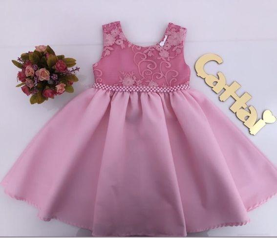 Vestido Infantil com Renda no Peito