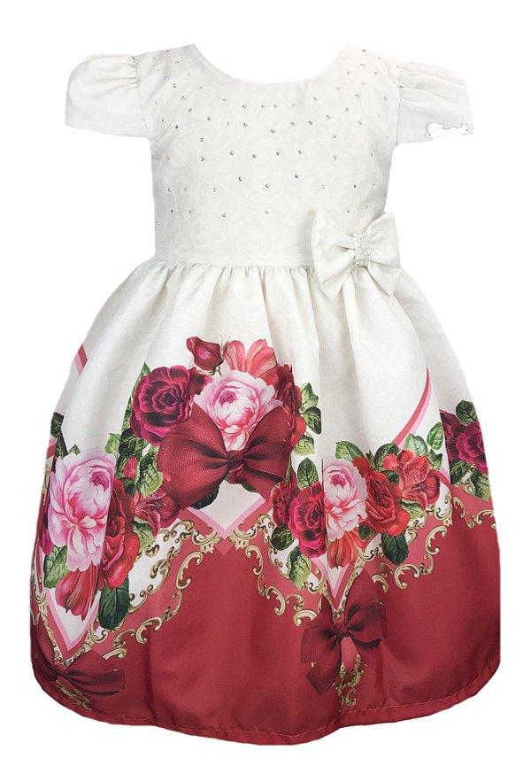 Vestido Infantil com barrado de flores e laço