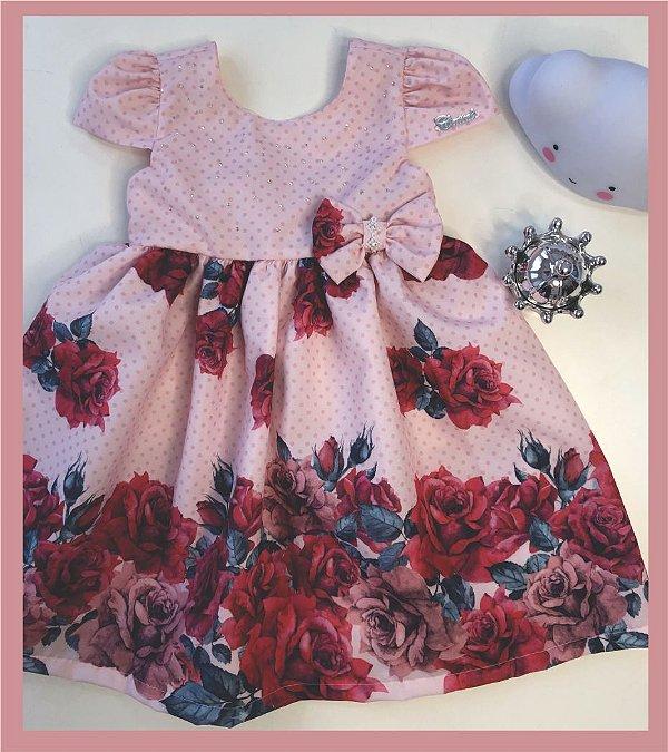 Vestido Infantil com barrado de rosas