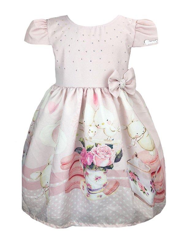 Vestido Infantil com barrado de macaron e coelhos