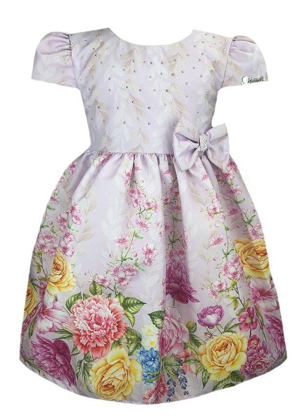 Vestido Infantil Lilá Floral