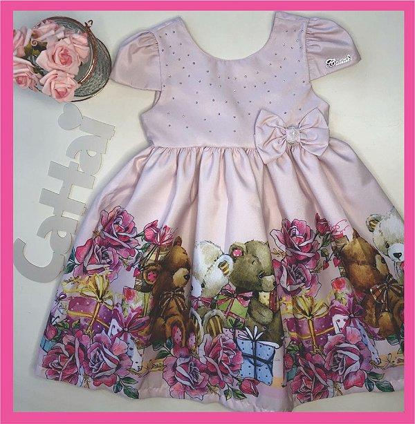Vestido Infantil Barrado de Urso