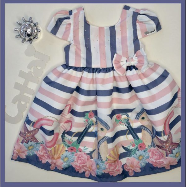 Vestido Infantil listado com Barrado de Gato Marinheiro