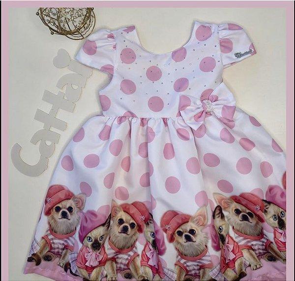Vestido infantil bolas com barrado de cachorro