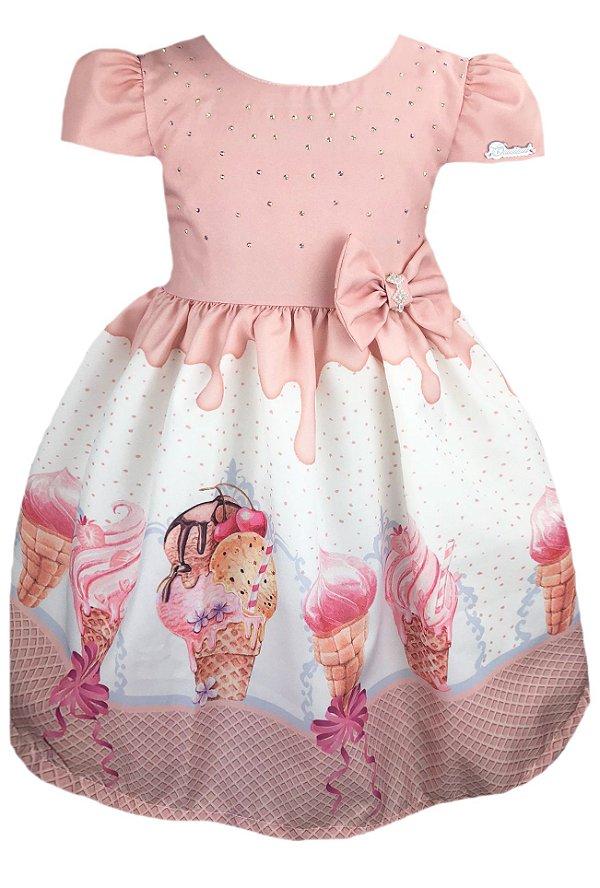 Vestido Infantil com estampa de sorvete