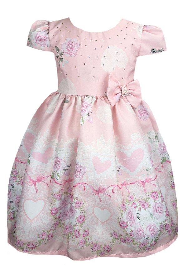 Vestido Infantil rosas e corações