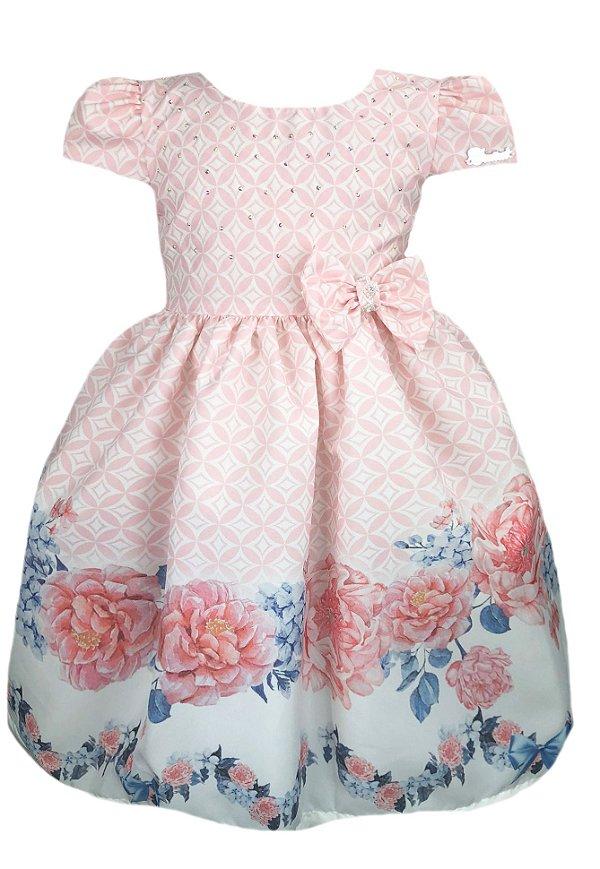 Vestido Infantil flores rosas e azuis