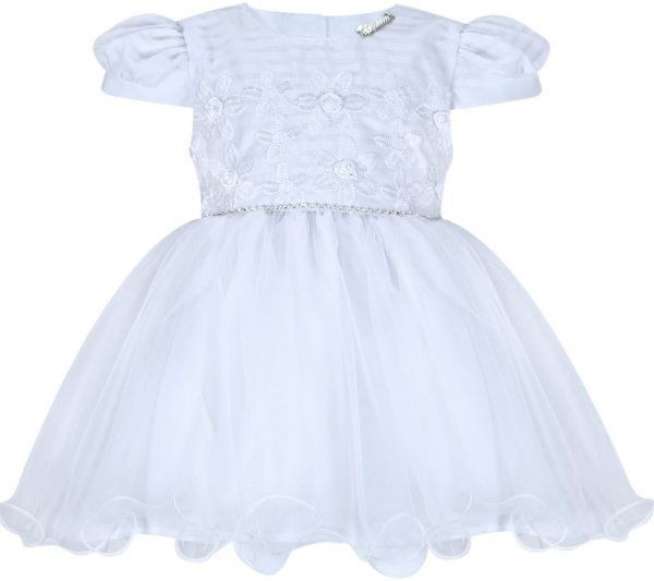 Vestido Infantil Branco para batizado com bordado no peito