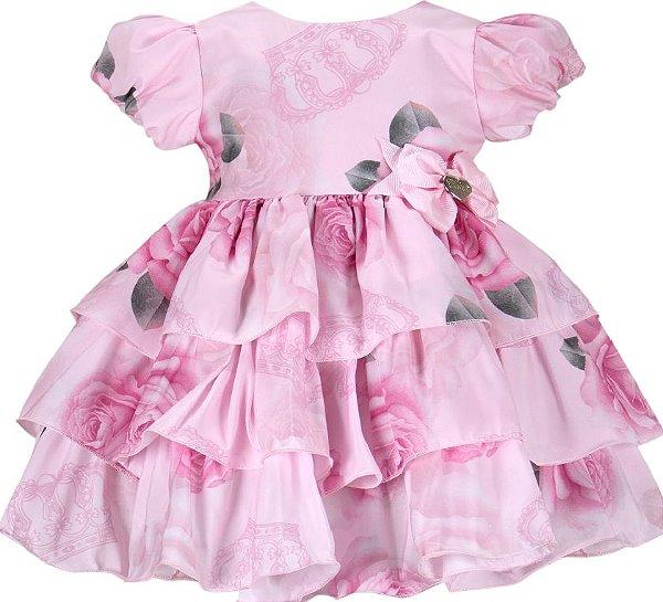 Vestido Infantil Estampa rosas