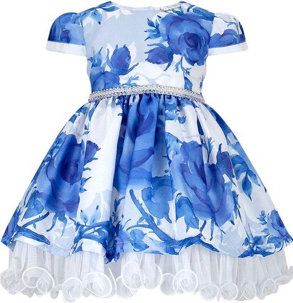 Vestido infantil estampado azul