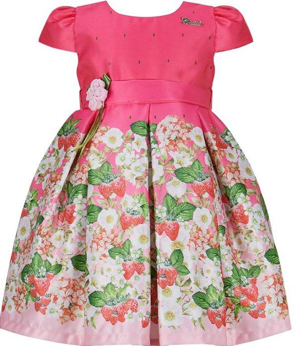 Vestido infantil barrado Morangos