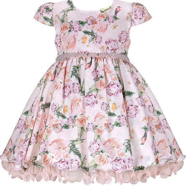 Vestido Infantil c/ cinto de pérolas