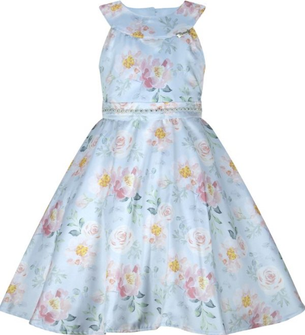 Vestido infantil casual com detalhe nas costas