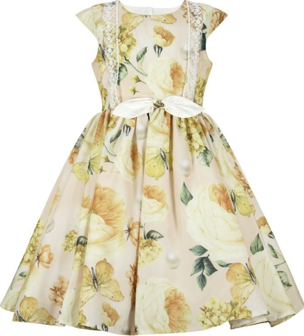 Vestido infantil rosas e borboletas amarelas