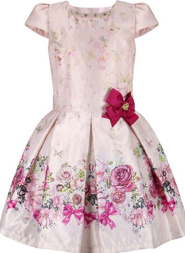 Vestido infantil de corpo comprido