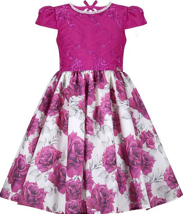 Vestido infantil saia estampada pink