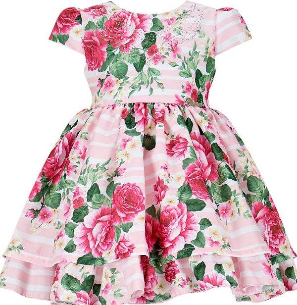 Vestido Infantil com estampa de flores