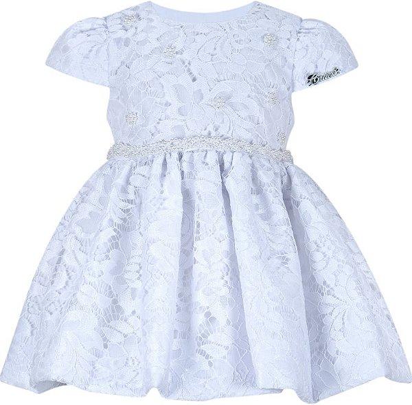 Vestido Infantil Batizado Branco de Renda