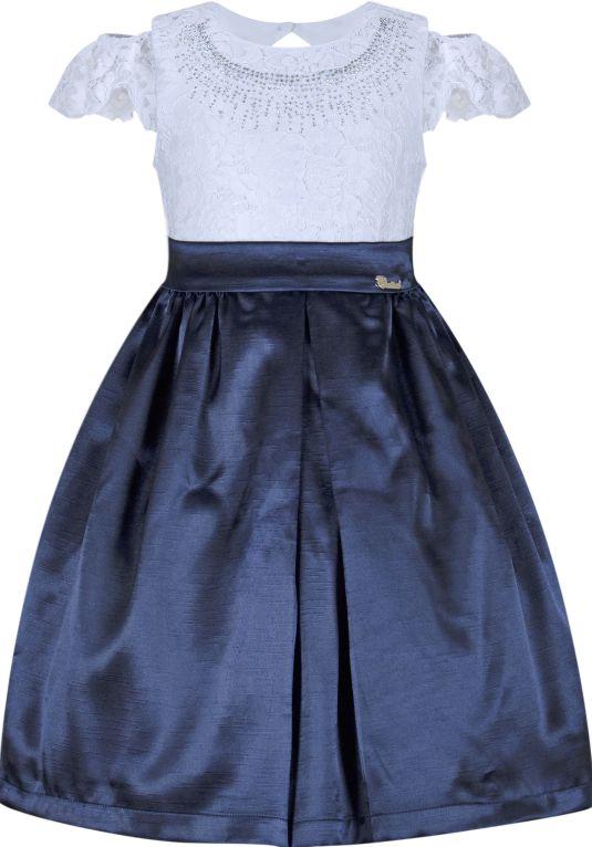 Vestido Infantil Casual com peito de renda