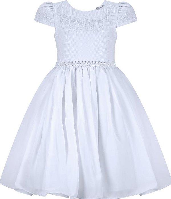 Vestido Infantil Casual liso com peito bordado