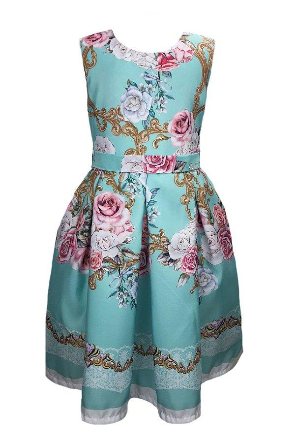Vestido Infantil verde-água com estampa de rosas