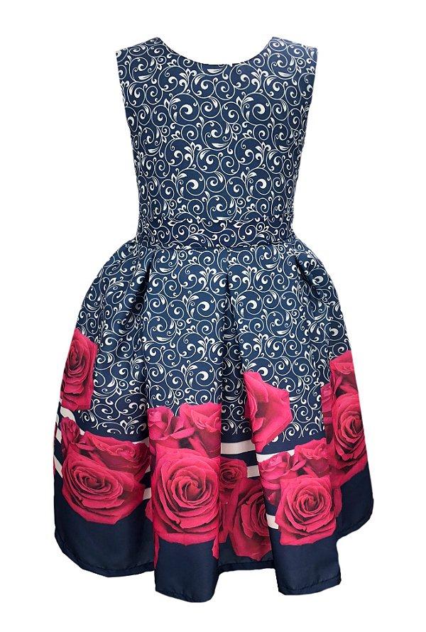 Vestido Infantil azul todo desenhado com barrado de rosas pink