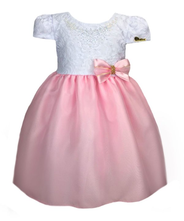 Vestido Infantil com peito de renda