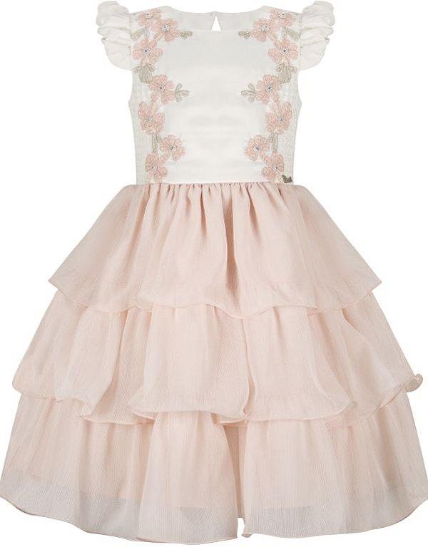 Vestido Infantil com peito bordado de flores