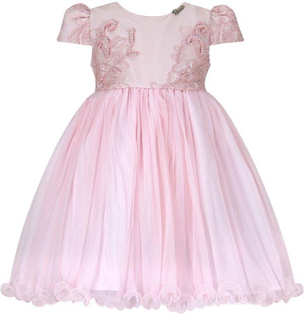 Vestido Infantil com peito de renda bordado