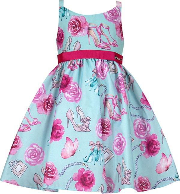 Vestido Infantil Básico com estampa de Rosas
