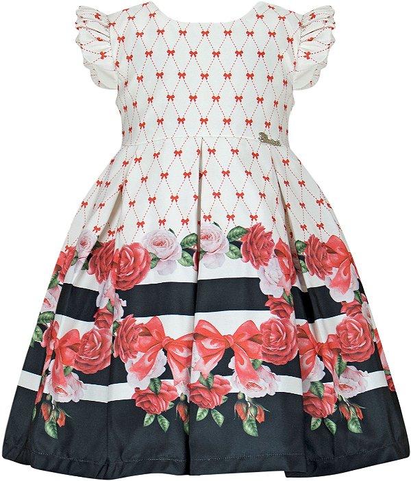 Vestido Infantil com barrado de listras e rosas