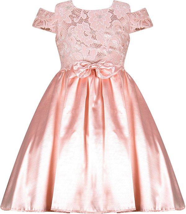 Vestido Infantil Casual com peito de renda bordado