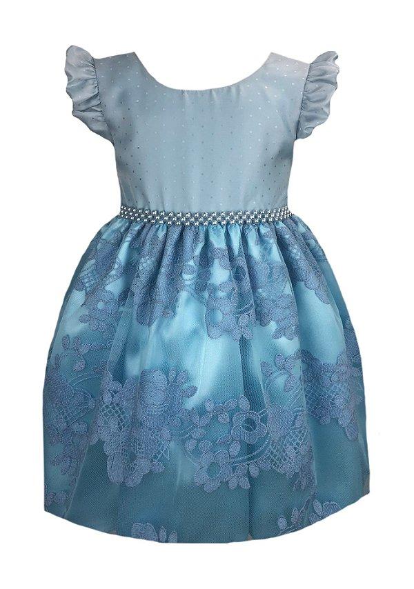 Vestido infantil com saia de tule bordado