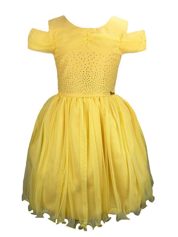 Vestido Infantil Amarelo Bela