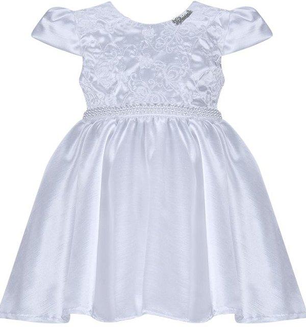 Vestido Infantil Branco de Batizado com peito bordado
