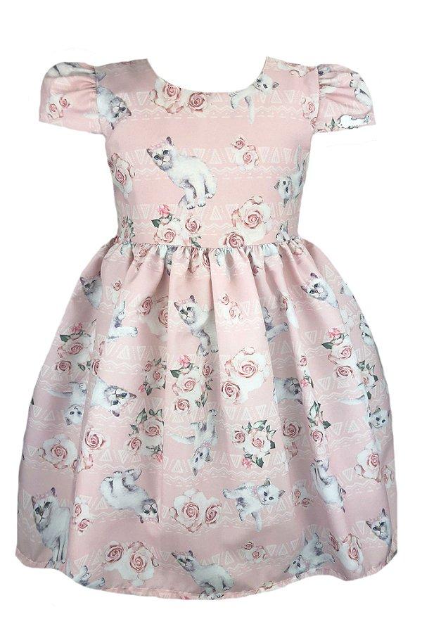 Vestido Infantil Rosa com Estampa de Gatos