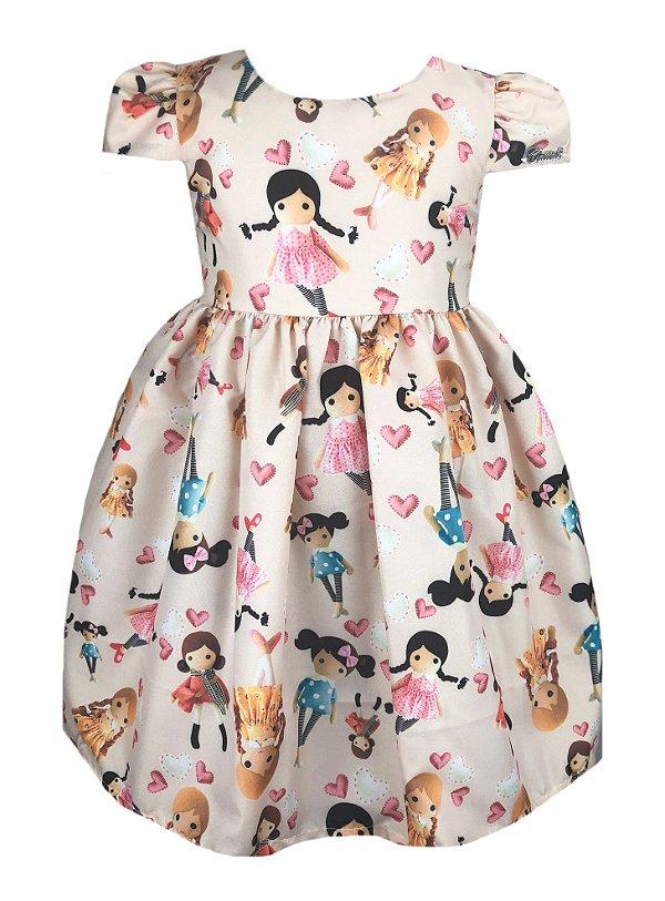 Vestido Infantil com estampa de bonecas