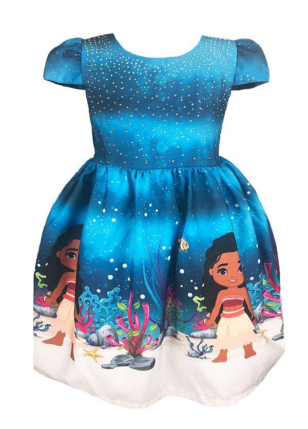 Vestido Infantil com tema Moana