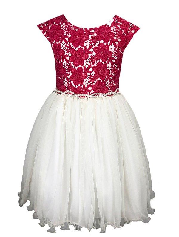 Vestido Infantil com Peito de Renda Pink e Saia de Tule Off White