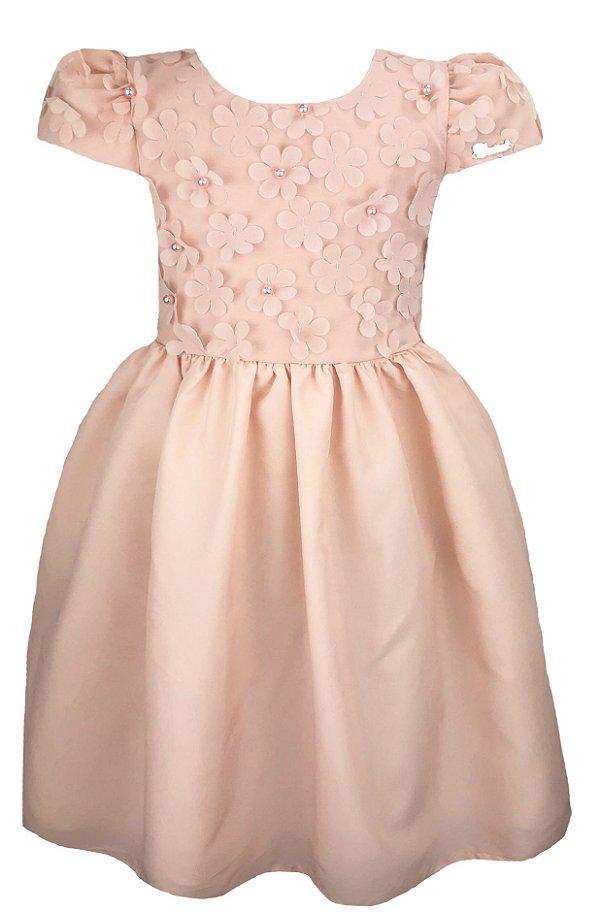 Vestido infantil com peito de flores 3D