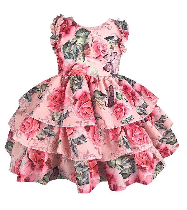 Vestido infantil estampado com saia de babado